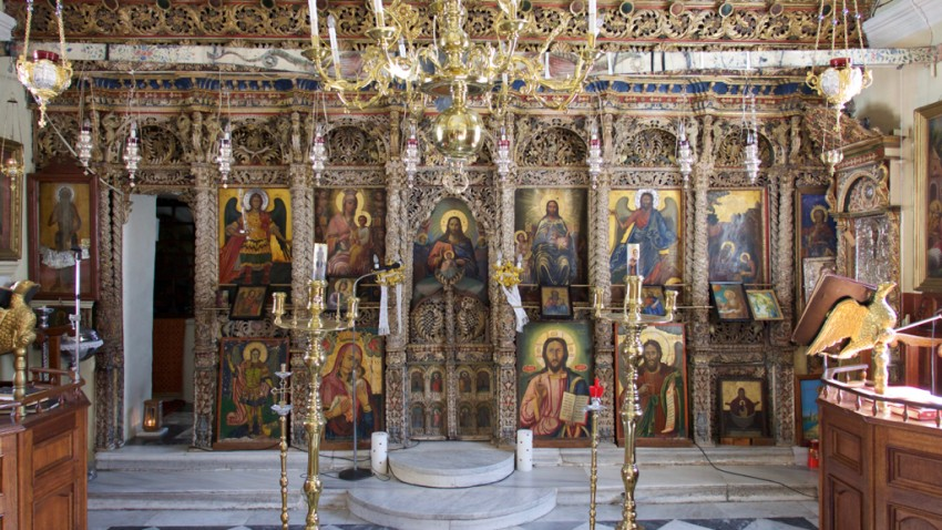 Inside the church in Symi, Greece.