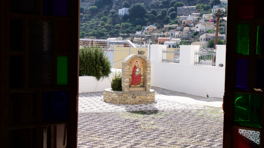 Church courtyard in Symi, Greece.