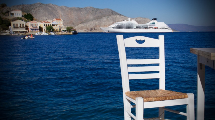 Seabourn Sojourn anchored off Symi, Greece.