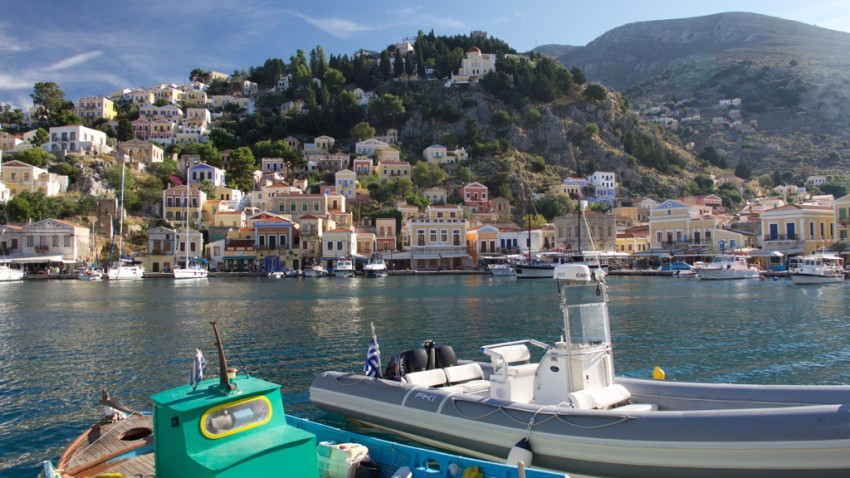 Waterfront in Symi, Greece.