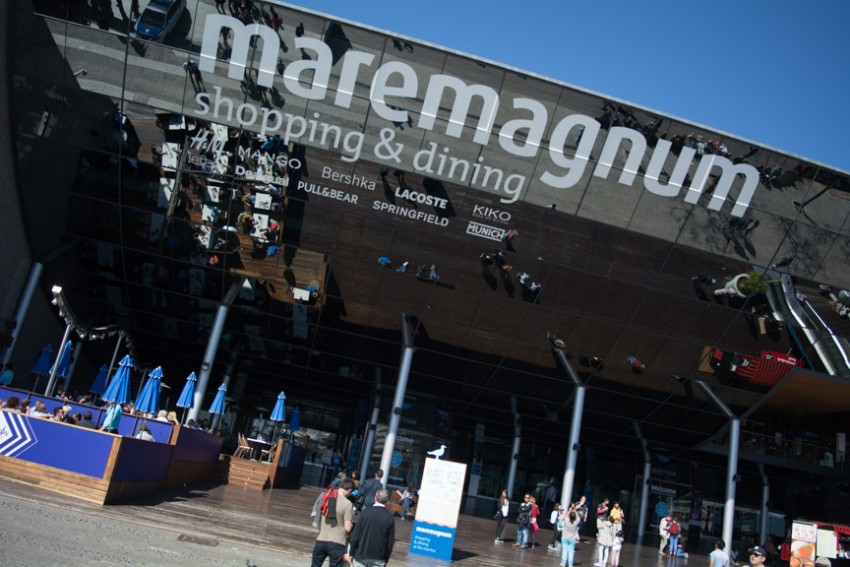 Indulge your wallet at the Maremagnum Shopping Center in the Port of Barcelona.