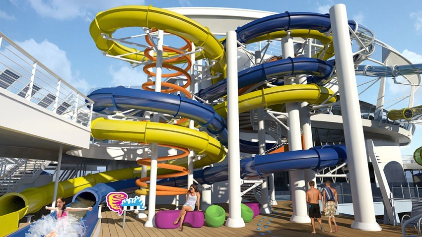 Harmony of the Seas will introduce Royal Caribbean's first true waterslides.