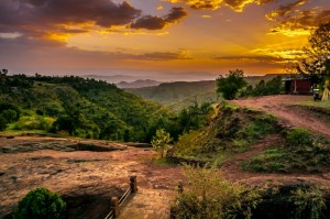 The valley of Lalibela at sunset