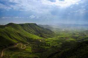 A hillside view of Lalibela, Ethiopia