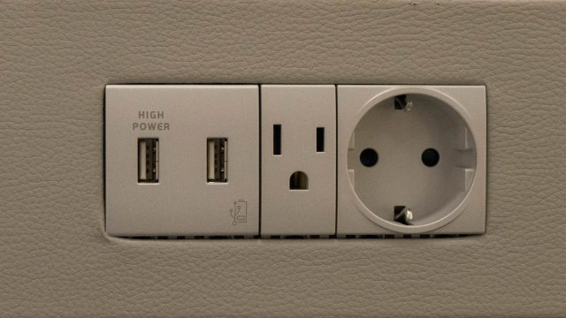 New bedside USB outlets for charging mobile devices and more.