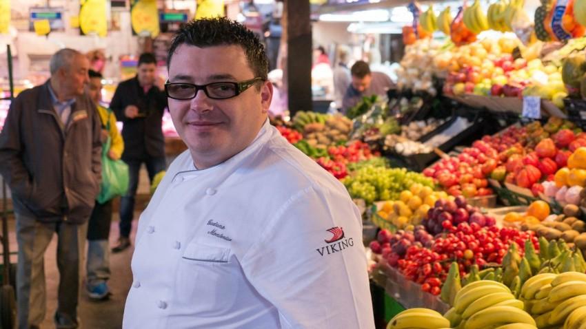 Shopping With The Chefs Chef Gaetano Monteriso at the Boqueria market in Barcelona.