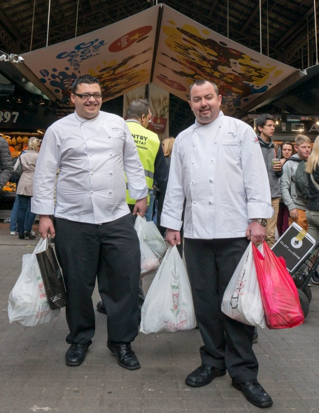 Mission Accomplished The chefs bought fresh seafood and vegetables at Barcelona's Boqueria market.