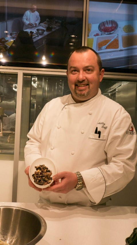 Prepping For Dinner Back on board Viking Sea Ashley Duff, executive chef, prepares for the evening dinner.