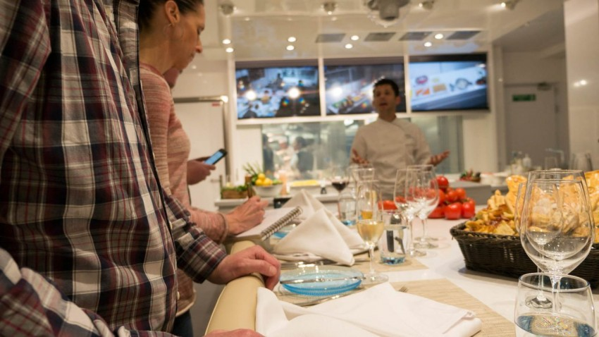 The Show Begins Anthony Mauboussin, director of culinary development for Viking Ocean Cruises, kicks off the evening at The Kitchen Table.