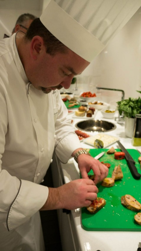 Showing Us How It's Done Ashley Duff, executive chef, showing us how to prepare starters.