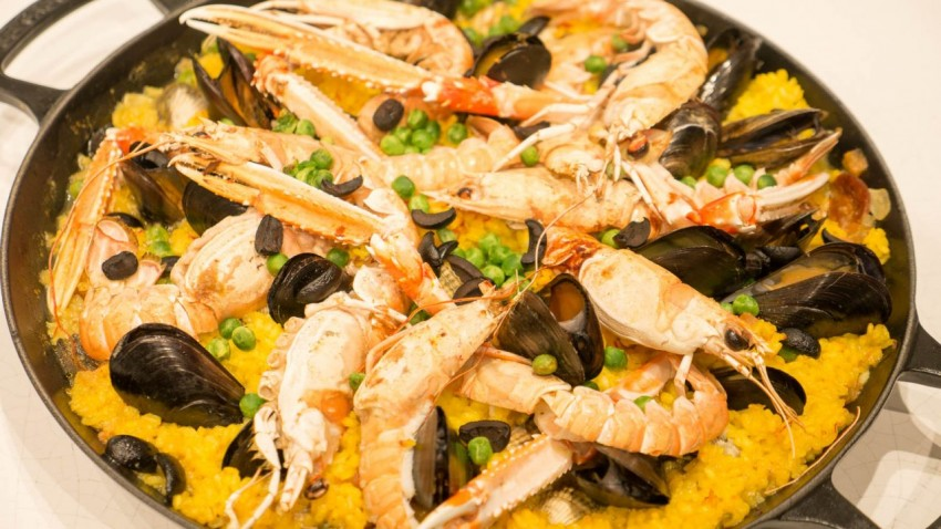 Paella At the Kitchen Table on Viking Sea.