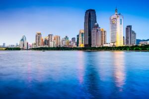 The city of Xiamen reflecting off Yundang Lake