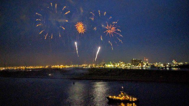 Fireworks commemorating the christening of Koningsdam.