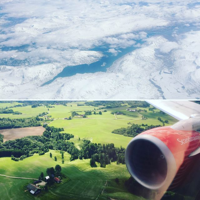 Two views of the Norwegian landscape while flying from Oslo to Tromsø to board Viking Sea.