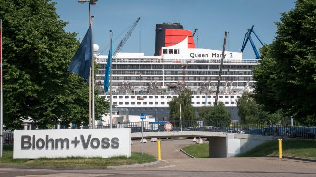 Queen Mary 2 dry-docked at Blohm & Voss shipyard in Hamburg, Germany.