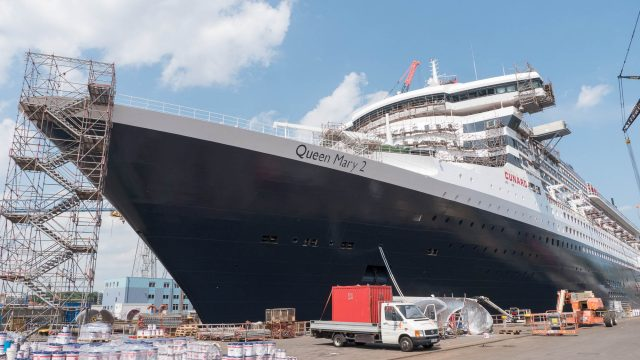 Though Queen Mary 2 was last dry-docked here in 2011, this upgrade is much more extensive.