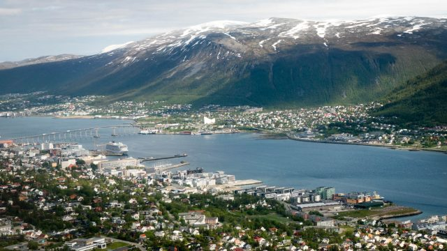 Viking Sea spotted near the bridge in Tromsø.