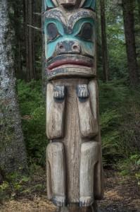 A Tlingit totem pole in Sitka.