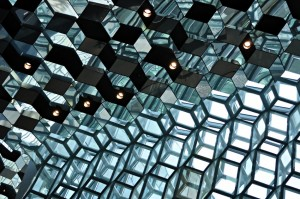 A close-up of the glass cubes that create the structure of the Harpa Concert Hall