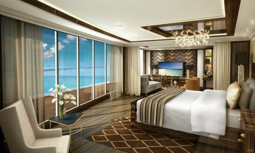 An artist's rendering of the bedroom in the sprawling Regent Suite aboard Seven Seas Explorer.