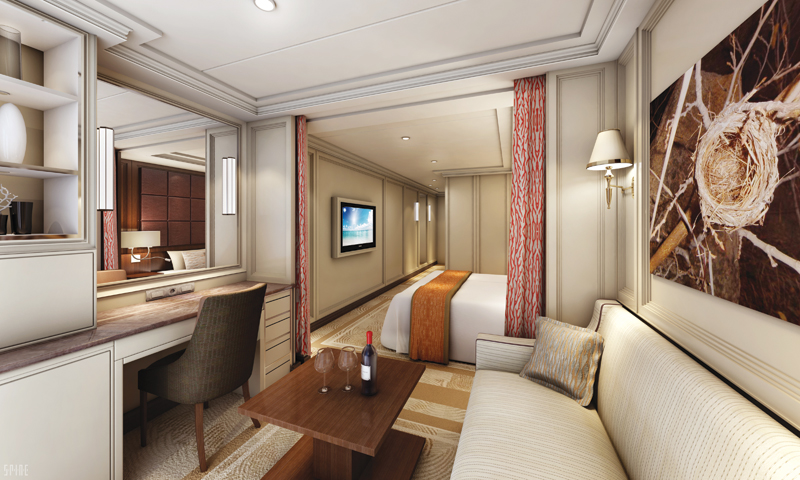 Standard suites aboard Seven Seas Explorer are stylish and comfortable.