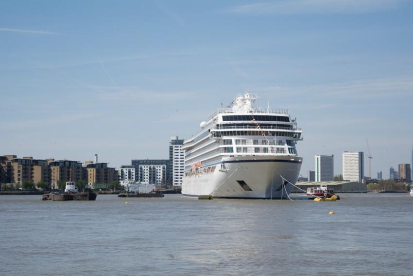 Viking Sea at anchor off Greenwich, England on May 5, 2016.