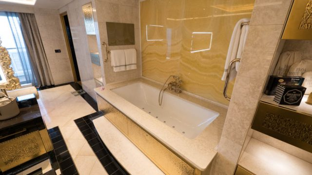The Regent Suite's 'in-room spa,' the master bathroom. Throughout Seven Seas Explorer 45,876-square feet of marble was used, with more than half of it being Carrera marble from Italy.