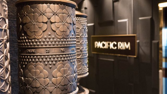 The prayer wheel outside of the Pacific Rim restaurant weighs 6,000 pounds and cost $500,000. The weight, however, was more of an extravagance than the cost as the shipyard had to engineer support for the weighty prayer wheel.