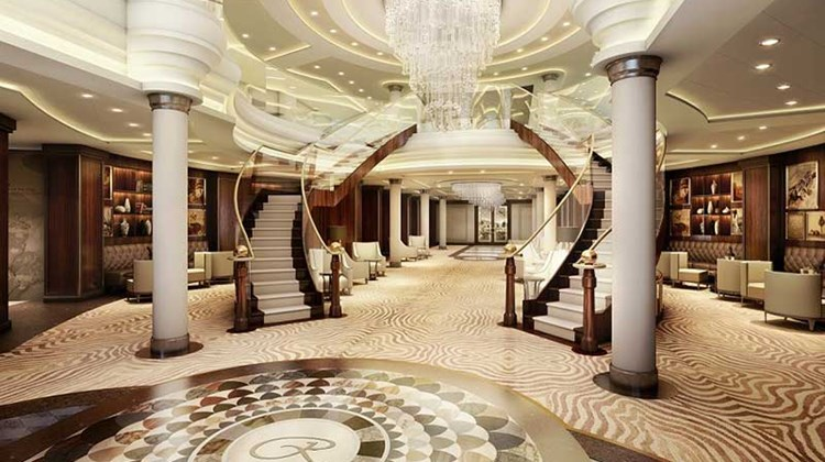 The high standard of opulence set by the suites will carry through to the rest of the ship. Shown here is a rendering of the central lobby atrium.