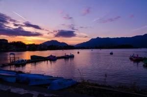 Lake Kawaguchi at sunset