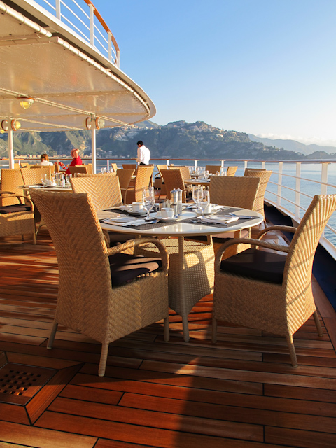 Dining out on the aft terrace at La Terrazza aboard Silver Spirit.