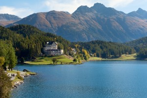 Lake Moritz during the warmer months in Switzerland