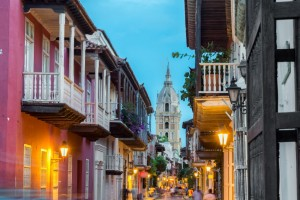 The streets of Cartagena at sunset