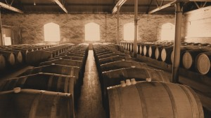 Wine aging in barrels at a winery in McLaren Vale