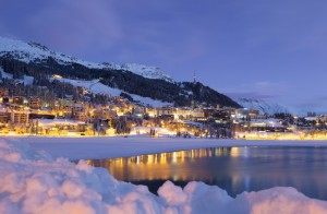 One of the many resorts of St Moritz blanketed in fresh snow