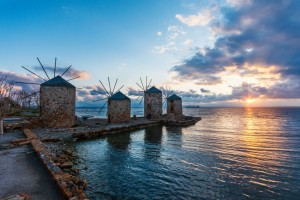 The sun setting over Chios.