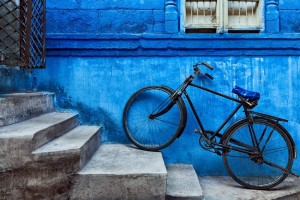 "The side of one of the homes of the ""Blue City"" of Jodhpur"