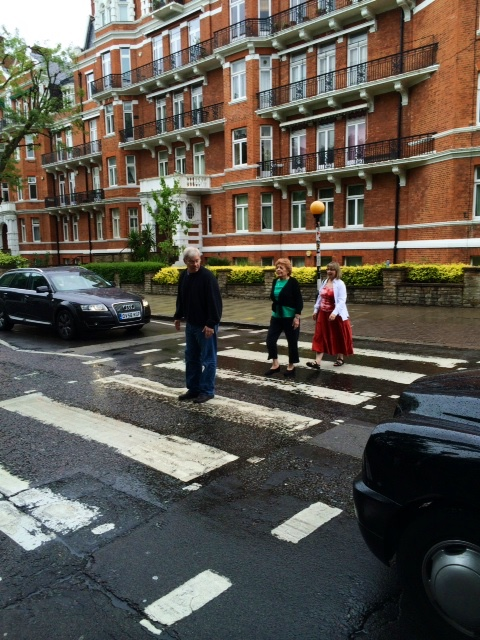 An Anglophile at heart, travel writer Marcia Levin crosses Abbey Road with her kids. 'Me in green,' she writes. 'Not quite The Beatles.'