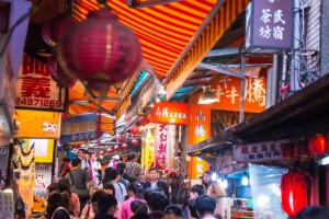 Locals and tourists enjoying the street market of Taipei downtown in Taiwan
