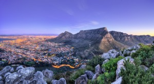 The city of Cape Town at sunset