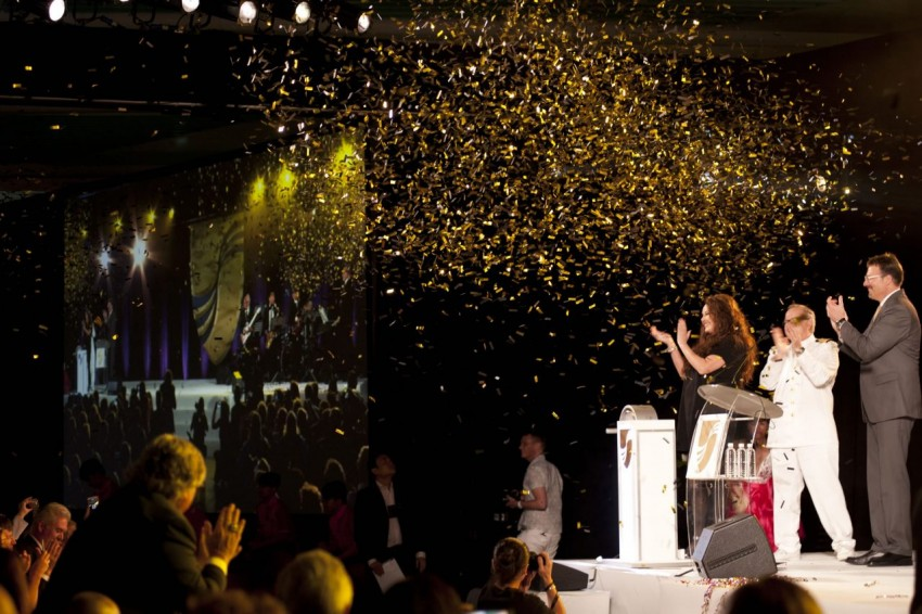 Seabourn Encore christened by Soprano Sarah Brightman, godmother of Seabourn's newest ship.