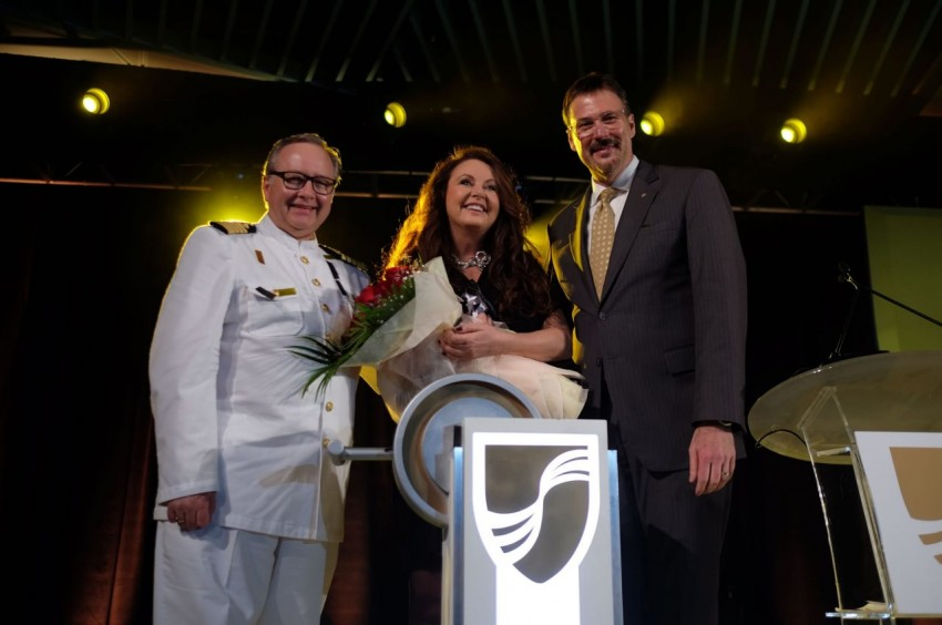 Seabourn Encore Captain Mark Dexter, Soprano Sarah Brightman, godmother of Seabourn Encore, and Rick Meadows, president of Seabourn.