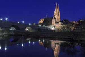 The Old Town of Regensburg at night