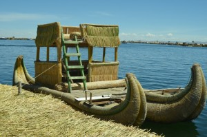 A totora reed boat docked at the Uros Islands