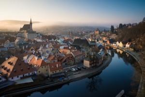 The town of Český Krumlov at dawn