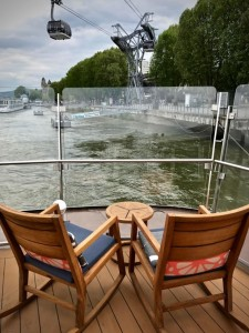 Close to the edge on Viking Hlin's Aquavit Terrace while docked in Koblenz. No other river cruisers boast such large front-of-ship open areas on the lounge level. © 2017 Ralph Grizzle