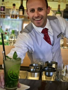 The best bartender on the rivers? Ivan, from Macedonia, made our trip special, using fresh mint from Viking Hlin's top deck herb garden to make this mojito. © 2017 Ralph Grizzle