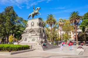 General Jose de San Martin monument on Plaza San Martin square in Cordoba, Argentina.