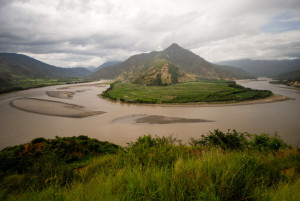 A famous bend of yangtze river in Autumn, Yunnan Province, China