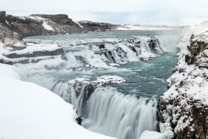 Gulfoss Golden Falls waterfall Iceland in winter